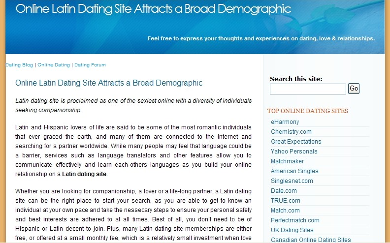 Online dating blogs